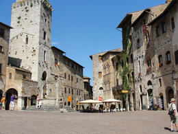 Piazza in San Gimignano where you can buy the World's best Gelatto , Michelle L - June 2011