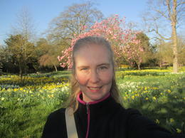 In the beautiful gardens before HCP opens , LeaAnne E - April 2012