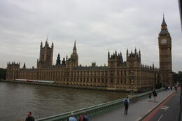 View of Big Ben and the Parliament as we cross the bridge on the Red tour bus. , Carole M - August 2011