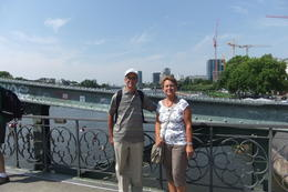 Mario and Anna on the Old Bridge across the Main in Frankfurt, during Frankfurt sightseeing Tour. , Mario S - July 2014