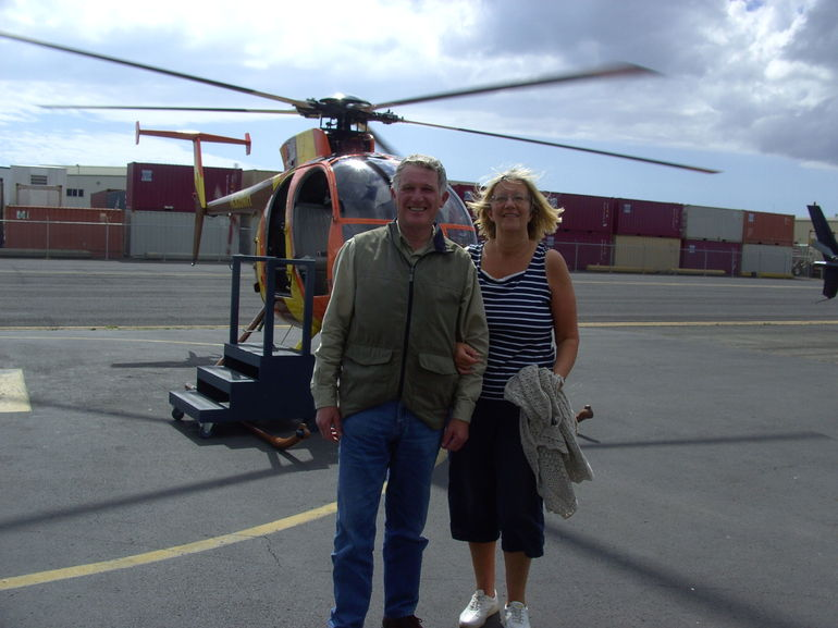Here we are safe and sound back to base after a great flight. A bit windswept but thoroughly happy!