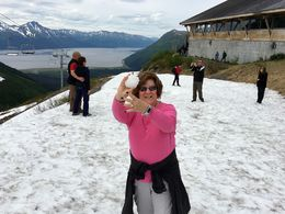 At Mt. Aleska a stop on the tour. A snow ball fight in June. Not bad for a Florida girl. , Steve H - June 2016