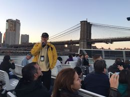 Starting off the evening cruise under Brooklyn Bridge- not a bad seat anywhere on the top of the boat. , Holly C - April 2016