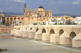 Cordoba: The Great Mosque, UNESCO World Heritage Site - view with famous Roman Bridge - June 2011