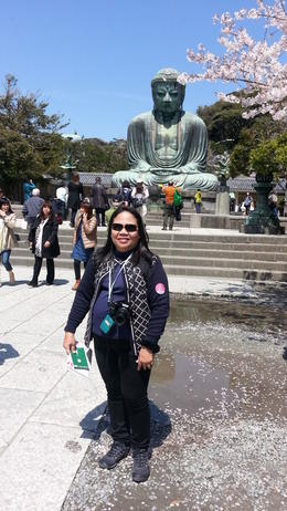 This is the famous giant buddha in Kamakura made more beautiful by the cherry blossoms in bloom.. , Catherine C - April 2014