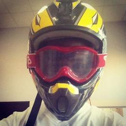 Me trying on my helmet and goggles. , Leonson S - April 2013
