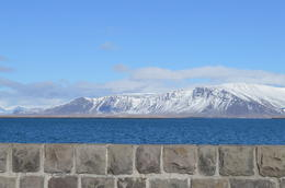 This is a picture from downtown of the sea wall and Mt. Esja. , Cherie B - April 2014