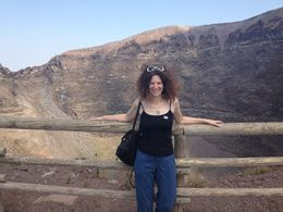 This is me in front of the crater caused by the 79 AD eruption , Gail P - July 2015