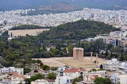 Seen in this view from the Acropolis are the Panathenian Stadium, Hadrian's Arch, and the ruins of the Temple of Olympian Zeus. , sharon - August 2013