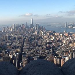 Top of the ESB of lower Manhattan , Vicky - October 2014