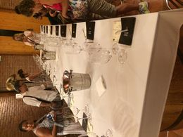 The large table where everyone is sat for the wine tasting , Victoria M - September 2015