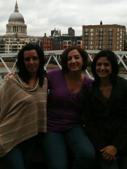 Lisa, Dawn and Toni at the Millennium Bridge across from the Globe theater., Travel Mom - July 2011