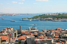 Panoramic view of Istanbul skyline from Galata Tower, overlooking the Golden Horn and Marmara sea - December 2011