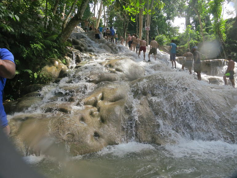 climbing up the Dunns river fall