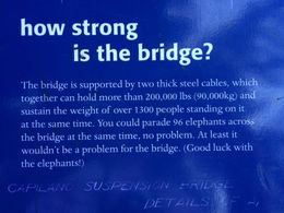 Information panels give details about the bridge length and height from below. , Bon - August 2015