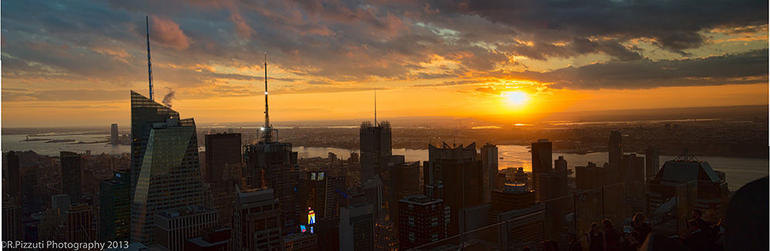 View from the top of the rock at sunset - New York City