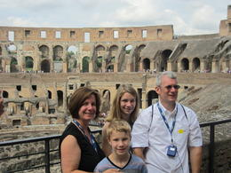 My husband and I were thrilled to see the Colosseum with our teenage children, Abigale and JD. We all enjoyed the beautiful views from within the Colosseum walls! , Ron P - July 2014