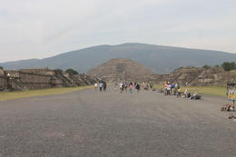 A view of the archeological site with the Moon pyramid and the hill in the background. , Amitabha - December 2014