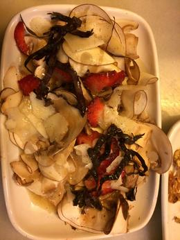 Thinly sliced mushrooms, purple escarole, strawberry's, parmesan, in a white balsamic vingarette with a hint of wasabe finished with a sprinkle of finishing salt.....YUMMMMMMM! , Sean R - February 2014