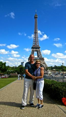 My husband and I at the eiffel tower during our tour. , Shawn - July 2014