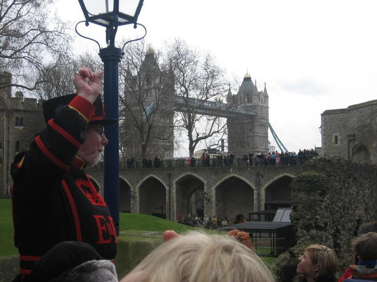 Our Beefeater guide, by the Tower Bridge - London