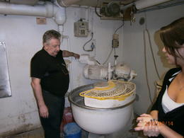 Showing us the small room where he bakes over 800 baguettes every day , Tina - September 2012