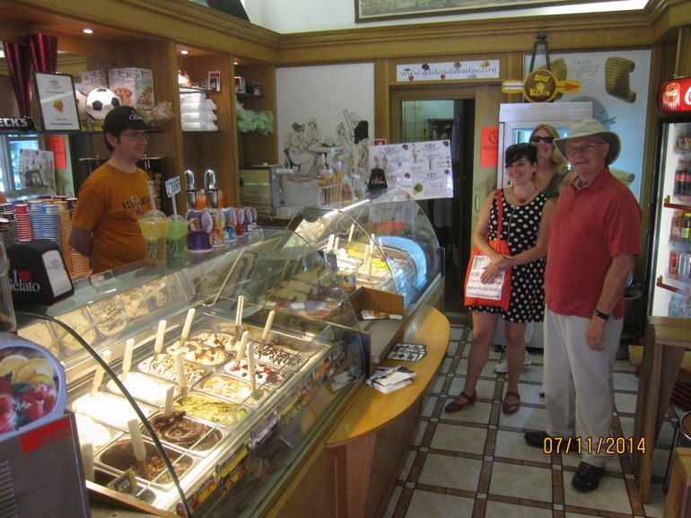 Topping off our tour with some great gelato are Mac, Leslie and our tour guide Coral.