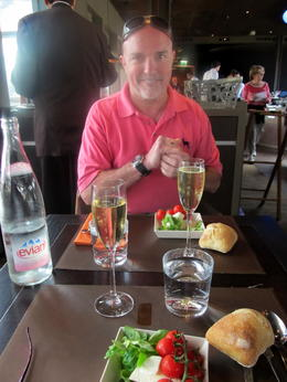 Lunch was delicious--fresh mozarella and tomato salad, salmon with risotto, and great champagne! , Ann L - August 2011