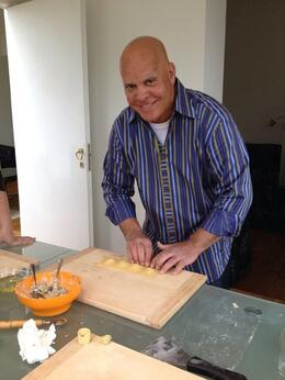 My husband Dominick making ravioli stuffed with cheese and artichoke filling. , JANICE R M - April 2014