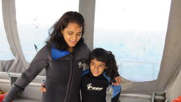 wife and daughter getting ready to get in the cage. , Anil K - October 2014