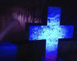 A cross made of salt at the Zipaquira salt cathedral. - September 2013