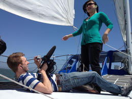 Filming Jules on the cruise, Jules & Brock - July 2012