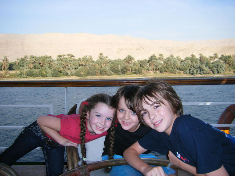 Sian Jordan and Ethan having a ball cruising up the nile