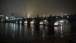 Charles Bridge at night at the end of our tour. , Sandra R - December 2013