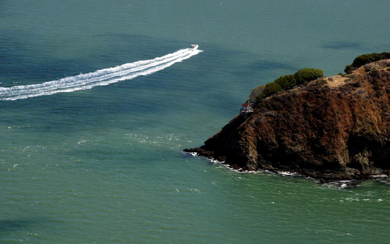 Shot from my window aboard the seaplane. - San Francisco