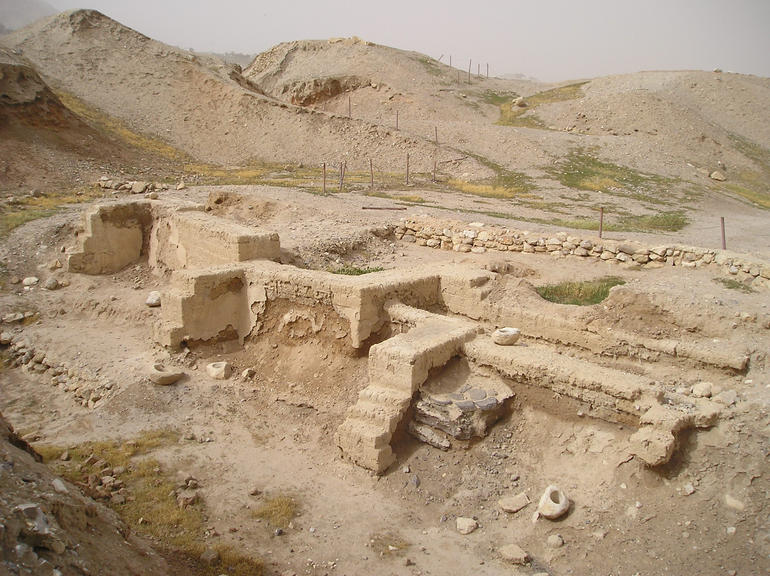 Dwelling foundations unearthed at Tell es-Sultan in Jericho, Jerusalem - Jerusalem