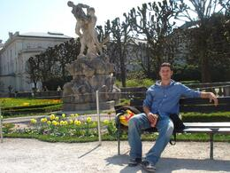 My boyfriend Deacon enjoying the beautiful parks and a cold beer in Salzburg!, Amanda C - April 2009