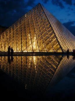 A photo of the pyramid of the Louvre at night, as taken from my bicycle on the bike tour., Art M - May 2008