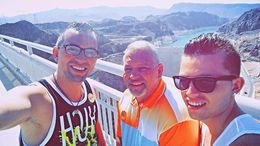 Dad and his boys together on the Bypass Bridge with Hoover Dam behind us. Absolutely a tremendous view. , Robert T - June 2015