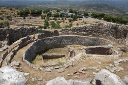 Grave circles at Mycenae dating to approximately 16th century BC. Cyclopean style of architecture. , cab0118 - July 2011