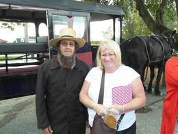 Yvonne posing with our driver following our horse-drawn buggy trip in Amish country. , Raymond K - November 2014