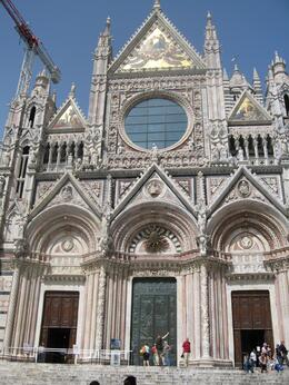 A beautiful cathedral in Siena -- they actually wanted to make their cathedral bigger than Florence, but if you've seen the Florence cathedral you know that would be impossible. But this one is..., Traci K - May 2009