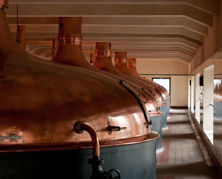 Copper tanks, Pilsner Urquell Brewery, Plze? Czech Republic - Prague