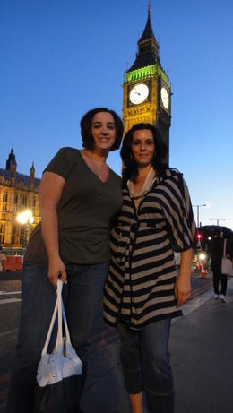 Dawn and Lisa in front St. Stephen's tower and Big Ben!, Travel Mom - July 2011