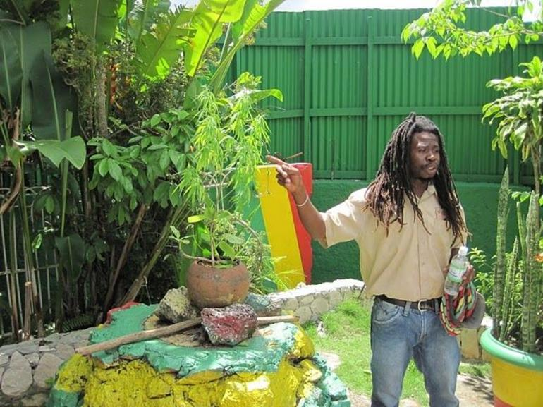 Our guide at the Bob Marley memorial, Nine Mile, Jamaica - Ocho Rios