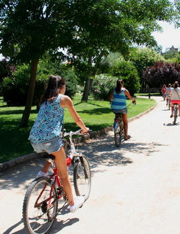 Photo of Barcelona Barcelona Half-Day Bike Tour riding through the Park south from the Arc De Triumpe