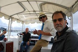 Paul and our river boat captain. It was a very nice tour, but unfortunately it was a rainy day. The walking portion of the tour was very informative, but we spend some cozy time talking in a..., Aletha W - June 2016