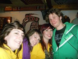 Emma, Beth and Janine with one of the dudes from.... New Zealand? , Mr Mark B - May 2011