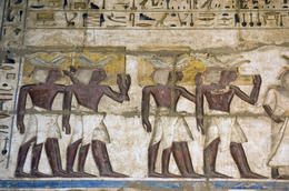 Photo of   Ancient Egyptian Priests painting, Medinet Habu temple, Luxor