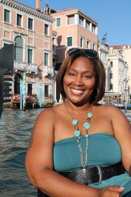 On the Gondola ride to the Canal Grande , Nikki H - October 2011